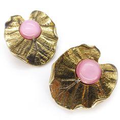 Vintage Schiaparelli Goldtone Lillypad Magenta Cabochon Clip Earrings | Clarice Jewellery | Vintage Jewellery | Vintage Costume Jewellery