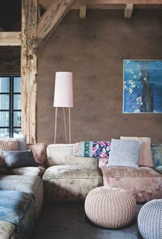 Muted pinks and blue