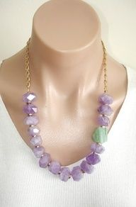 CLICK HERE TO BUY:  https://www.etsy.com/listing/105658676/ashira-natural-amethyst-and-natural    ASHIRA Natural Amethyst and Natural Green Agate Nugget and Gold Plated Chain Necklace. $485.00, via Etsy.