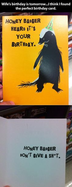 Honey badger birthday card my friend Andrea showed me this originally... Never stops being funny! Lol