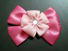 Light Pink Grosgrain Flower Hair Bow on a Pink by GhinesCreations, $2.99