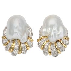 Jewelry & Watches - Unknown - South Sea Pearl Baroque & Diamond Earrings - The Emporium, Ltd Aquamarine Jewelry, Pearl Jewelry, Vintage Jewelry, Skull Jewelry, Hippie Jewelry, Pearl And Diamond Earrings, Diamond Studs, Silver Earrings, Clip On Earrings