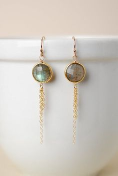 Moonstruck Labradorite and Gold Tassel Dangle Earrings