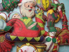 Vintage  Group of Cute Printed Felt Christmas by ShaneLilyRain