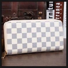 """Checkered Zipper Wallet  Condition: Brand New   Size: 7.9"""" x 4"""" x 1.6""""   Material: Faux Leather   Color: Blue & Ivory   Brand: Unknown   Details: Bags Wallets"""