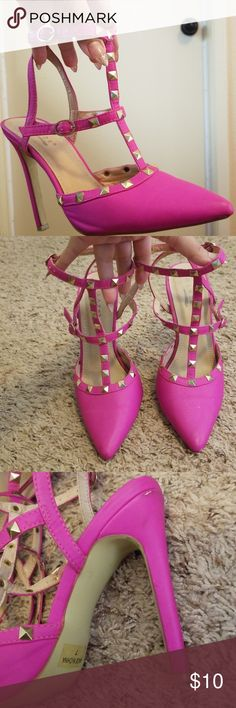 GLAZE heels Glaze hot pink heels.4inch heel. They do have a bit of wear to them I provided pics as I dont like to fool customers. But no studs are missing and can definitely be worn for another two seasons. Glaze Shoes Heels