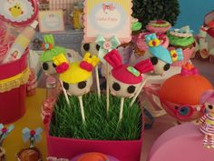 Lalaloopsy birthday party cake pops! See more party planning ideas at CatchMyParty.com!
