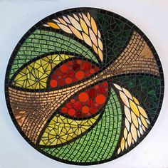 Autumn Elements Stained Glass Mosaic Lazy Susan Mosaic Birdbath, Mosaic Tray, Mirror Mosaic, Mosaic Garden, Mosaic Wall, Mosaic Glass, Mosaic Tiles, Mosaic Crafts, Mosaic Projects