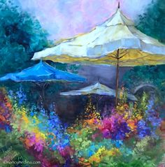 French Market Delphiniums, painting by artist Nancy Medina