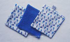 Lingettes démaquillantes lavables en coton BLANC et BASKETTES BLEUES - Lot de 3 Baskets, Couture, Turquoise, Cufflinks, Creations, Gloves, Etsy, France, Accessories