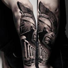 Bicep Tattoo Men, Inner Bicep Tattoo, Calf Tattoo, Tattoo Ink, Torso Tattoos, Best Sleeve Tattoos, Hand Tattoos, Spartan Helmet Tattoo, Greece Tattoo