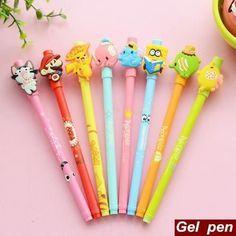 8 pcs/Lot Cute cartoon pen Adorable animal gel pen SpongeBob mario pokemon Zakka Canetas material escolar school supplies 6527