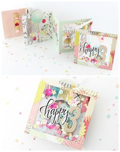 Steffi Ried mini album Confetti with the Maggie Holmes Confetti collection - Steffi Ried mini album Confetti with the Maggie Holmes Confetti collection - Mini Albums, Mini Scrapbook Albums, Scrapbook Cards, Project Life Cards, Mini Album Tutorial, Crate Paper, Shaker Cards, Mini Books, Flip Books