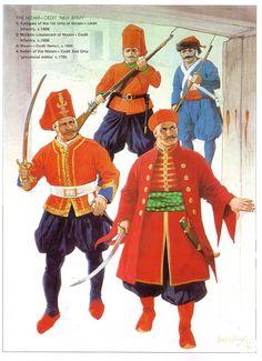 THE NIZAM-i CEDIT 'NEW ARMY':  1: Kolağası of the 1st Orta of Nizam-i Cedit Infantry, c.1806;  2: Müilazin Lieutenant of Nizam-i Cedit Infantry, c.1808;  3: Nizam-i Cedit Neferi, c.1800;  4: Neferi of the Nizam-i Cedit 2nd Orta 'provincial militia', c.1795
