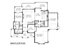 Craftsman Style House Plan - 6 Beds 5 Baths 6636 Sq/Ft Plan #920-29 Floor Plan - Main Floor Plan - Houseplans.com