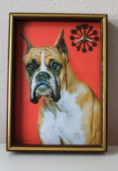 Vintage 3D Boxer Dog Clock by Nova Rico Florence by smilehood, $68.99