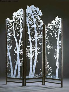 New glass screen divider lights 62 Ideas Stained Glass Art, Fused Glass, Dressing Screen, Dremel Projects, Diy Projects, Room Screen, Screen Doors, Aspen Trees, Birch Trees