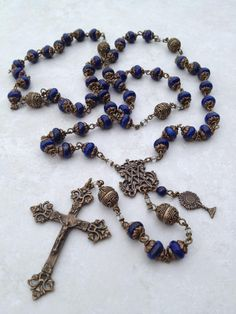 I handcraft heirloom quality gemstone rosaries in classical chain work. The rosary bead parts are vintage reproduction. Praying The Rosary, Holy Rosary, Rosary Catholic, Rosary Beads, Prayer Beads, Diy Jewelry, Gemstone Jewelry, Afghan Loom, Blessed Mother Mary
