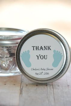 Thank you Mason Jar Labels with cute blue baby feet cutouts!  Perfect addition to your Baby Shower! Personalized Round Thank You Party Favor Tags! Different colors available