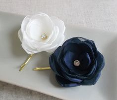 Ivory Navy small fabric flowers in handmade Bridal by ZBaccessory, $15.00