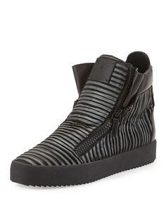 N36JQ Giuseppe Zanotti Men's Gunmetal Pleated High-Top Sneaker, Graphite