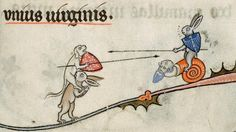Bizarre and vulgar illustrations from illuminated medieval manuscripts - jousting rabbits