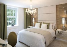 David Wilson Homes - Holden at Nursery Gardens, Bosworth Road, Measham  Beautiful contemporary and restful guest bedroom suite using sage greens and wood textured wall paper.