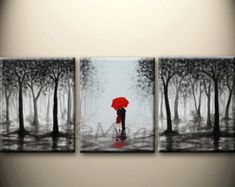 this acrylic painting will be hand painted on three 15x30and 3/4 inch thick gallery wrapped canvas, total size: 45x30, edges are staple free and painted black, no need to frame it. it will be ready and easy to be hung on your wall. (Please put two nails level on the wall to hold one canvas)  As this is a MADE to ORDER painting, it will be close to the one you see here, that I have already sold, but still unique. it will take about a week to finish the painting. pictures will be sent for…