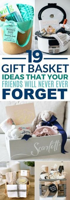 These 19 Gift Baskets Ideas Are Sure To Win Over All Of Your Friends! Whether fo… These 19 Gift Baskets Ideas Are Sure To Win Over All Of Your Friends! Whether for their birthday, Christmas, New Years, Valentine's Day, etc. Themed Gift Baskets, Diy Gift Baskets, Christmas Gift Baskets, Christmas Presents For Friends, Creative Gift Baskets, Gift Basket Themes, New Mom Gift Basket, Valentine Gift Baskets, Unique Gift Basket Ideas