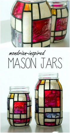 DIY Stained Glass Mason Jar Luminaries bottle crafts mason jars 15 Gorgeous DIY Stained Glass Projects That Will Beautifully Decorate Your Outdoors Mason Jar Candles, Mason Jar Crafts, Mason Jar Diy, Bottle Crafts, Stained Glass Paint, Stained Glass Crafts, Stained Mason Jars, Diy Cadeau, Diy Upcycling