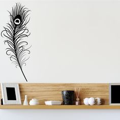 peacock feather wall decal | Large Peacock Feather Quote Wall Art Sticker Wall Mural Wall Decal DIY ...