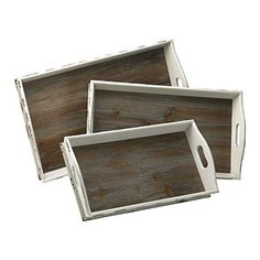 Alder Distressed Rectangular Wood Trays 3-Piece Set