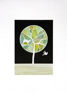 Original watercolor painting green tree cat and bird O1 by VApinx, $64.00