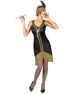 Black and gold coloured charleston costume for women: Adults Costumes,and fancy dress costumes - Vegaoo Gatsby Girl, Gatsby Dress, Gatsby Style, Flapper Style, Vestido Charleston, Charleston Style, Gatsby Themed Party, Theme Parties, Adult Costumes