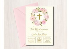 First Communion Invitation, Baptism, Floral Communion Invitation, printable - DIY