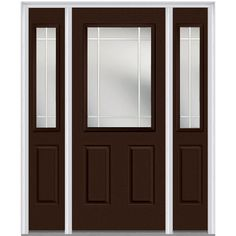 Milliken Millwork 68.5 in. x 81.75 in. Classic Clear Glass PIM 1/2 Lite Painted Majestic Steel Exterior Door with Sidelites, Polished Mahogany