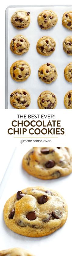 The BEST Chocolate Chip Cookies My all-time favorite chocolate chip cookie recipe! These chocolate chip cookies are perfectly soft and chewy and buttery, loaded up with semisweet chocolate chips, and completely irresistible. Baking Recipes, Cookie Recipes, Dessert Recipes, Baking Desserts, Protein Recipes, Protein Foods, Baking Ideas, High Protein, Best Chocolate Chip Cookie