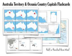 Australia & Oceania Countries Capitals Flashcards, halfahundredacrewood.com