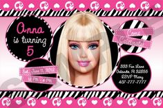 Barbie themed birthday invites