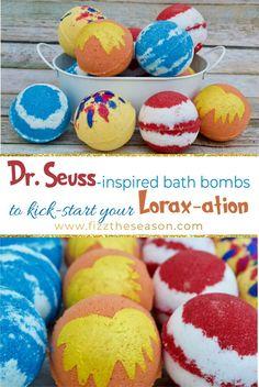 Learn how to make these fun, DIY, kid-friendly Dr. Seuss-inspired bath bombs to kick start your Lorax-ation! Kid Friendly Baths, Mason Jar Crafts, Mason Jars, Mini Bath Bombs, Bath Bomb Molds, Bomb Making, Bath Bomb Recipes, Soap Recipes, Diy Hanging Shelves