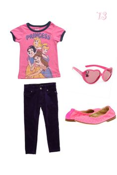 Disney princess t shirt outfit combo for a toddler girl! #princesses #cute #trendy #babygirl #fashion #stylish