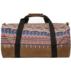 Dorothy Perkins Mipac tan aztec duffle bag (£38) ❤ liked on Polyvore featuring bags, handbags, brown, tan handbags, black purse, tan purse, black brown purse and black duffel bag