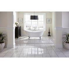 Carrara Polished Porcelain Tile - 12 x 24 - 912500311 Master Bath Tile, Bath Tiles, Ceramic Floor Tiles, Bathroom Floor Tiles, Basement Bathroom, Kitchen Tiles, White Mosaic Bathroom, Best Laminate, Black Basket