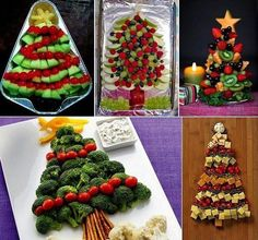 Cute ideas for Christmas veggie trays! :)