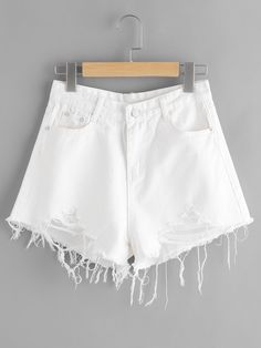 53852ba2d9a ROMWE offers Destroyed Fray Hem Denim Shorts   more to fit your fashionable  needs. White ...