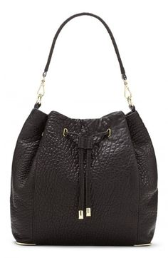 7dd75b21108f Vince Women s Camuto Knox Drawstring Leather Bucket Bag Black One Vince  Camuto Bag