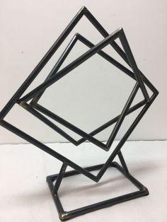Sculpture: Vintage Modernist Bronze Sculpture Signed Abstract Mcm Metal Folk Art Retro Desk