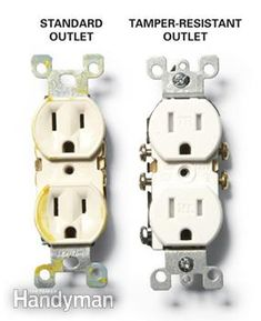 Tamper-resistant outlets :: protect kids from electrical shocks! TR outlets are safer and more reliable than plugs and sliding plates. Used in hospitals and schools.