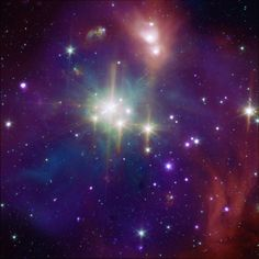 "Coronet Cluster in Corona Australis. (Credit: X-ray: NASA/ CXC/CfA/ J.Forbrich et al.; Infrared: NASA/SSC/CfA/IRAC GTO Team) X-rays from young stars & infrared light from stars & cosmic dust are combined in a false color image. The small star grouping is the Coronet Cluster. The view was produced using data from the orbiting Chandra Observatory (x-ray) and the Spitzer Space Telescope (infrared). Mona Evans, ""The Starry Crowns – Corona Australis"" http://www.bellaonline.com/articles/art301553.asp"