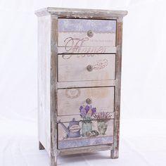 Mobile cassettiera 3 cassetti Cuore in legno bianco shabby chic ...